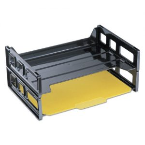 stacking trays plastic 2 ct. black