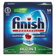 Finish Powerball Dishwasher Tabs - Fresh Scent Dishwashing Detergent Tablet 54 per Box
