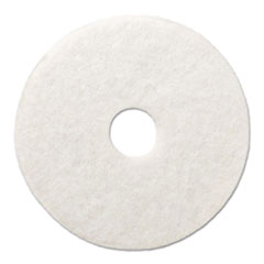 "Polishing Floor Pads, 18"" Diameter, White, 5/Carton"