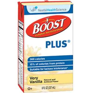 Boost Plus Vanilla - 8oz Tetra Brik - Nestle Nutrition Drink Case of 27