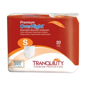 Tranquility Premium OverNight Disposable Underwear, Small, Heavy Absorbency, 2114 Case of 80
