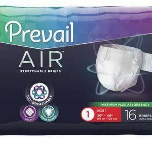 Prevail AIR Stretchable Adult Briefs, Size 1, Heavy Absorbency Case of 96