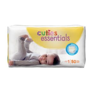 Cuties Baby Diapers, Size 1 CR1001 Pack of 50