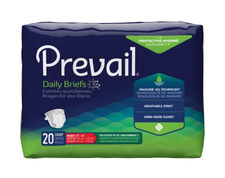 Prevail Adult Incontinence Brief, Medium, Heavy Absorbency Pack of 20