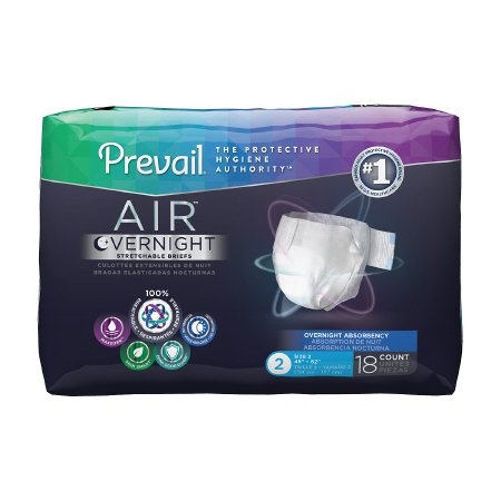 Prevail AIR Overnight Brief, Size 2, Heavy Absorbency Case of 72
