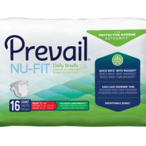 Prevail NU-FIT Adult Brief, Medium, Heavy Absorbency Case of 96