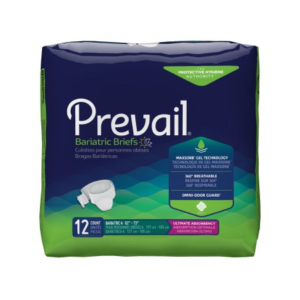 Prevail Adult Bariatric Brief, Size A, Heavy Absorbency Pack of 12