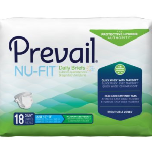 Prevail NU-FIT Adult Brief, Large, Heavy Absorbency Pack of 18