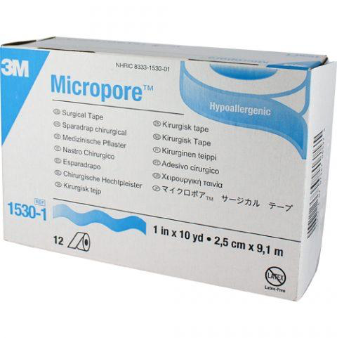 "Tape Micropore 1"" x 10yds Paper, roll - 1530-1 Box of 12"