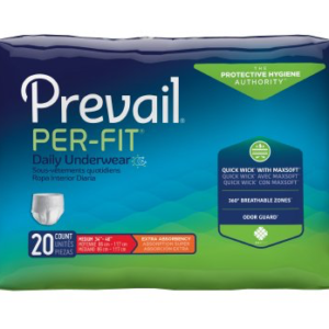 Prevail Per-Fit Pull On Adult Underwear with Tear Away Seams, Medium, Heavy Absorbency Pack of 20