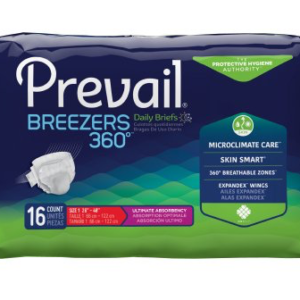 Prevail Breezers 360 Adult Brief, Size 1, Heavy Absorbency Pack of 16