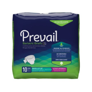 Prevail Adult Bariatric Brief, Size B, Heavy Absorbency Pack of 10