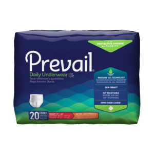 Prevail Daily Underwear, Medium, Moderate Absorbency Case of 80