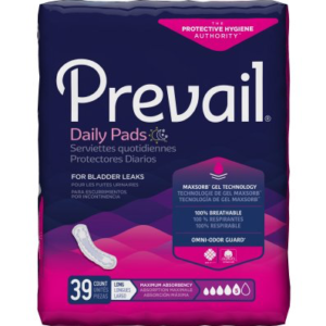 Prevail Daily Bladder Control Pads for Women, 13 Inch Length, Heavy Absorbency Pack of 39