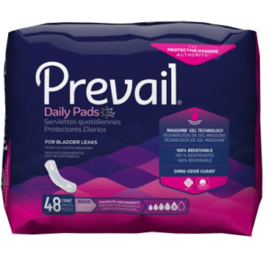 Prevail Daily Bladder Control Pads for Women, 11 Inch Length, Heavy Absorbency Pack of 48