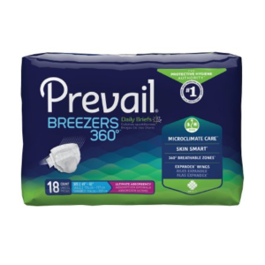 Prevail Breezers 360 Adult Brief, Size 2, Heavy Absorbency Pack of 18