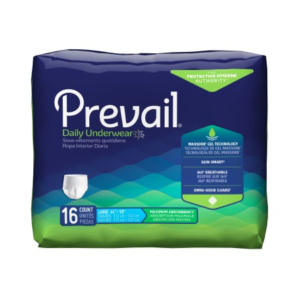 Prevail Adult Pull On Underwear with Tear Away Seams, Large, Heavy Absorbency Pack of 16