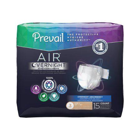 Prevail AIR Overnight Brief, Size 3, Heavy Absorbency Case of 60
