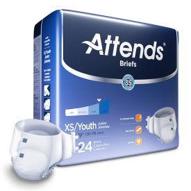 BRBX10 - Attends Briefs, Youth/X-Small Pack of 24